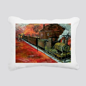 Whistle Stop Train Rectangular Canvas Pillow