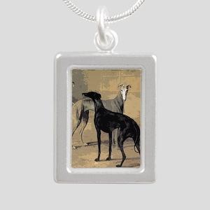 Greyhound Card Silver Portrait Necklace