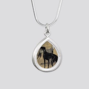 Greyhound Card Silver Teardrop Necklace