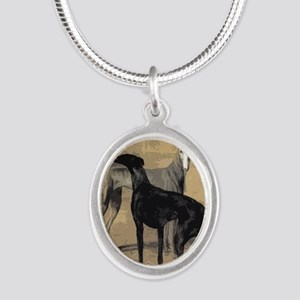 Greyhound Card Silver Oval Necklace