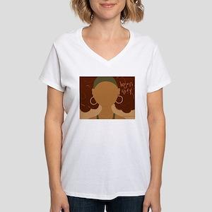 """Brown Lady """"Jenn-Jenny"""" Women's V-Neck T-Shirt"""