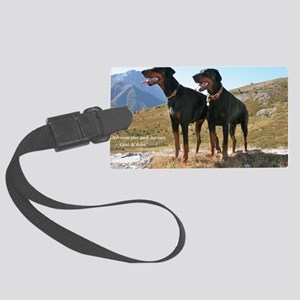 Dobermans and Nature Large Luggage Tag