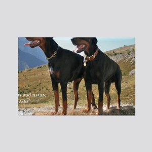 Dobermans and Nature Rectangle Magnet