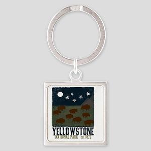 Yellowstone Park Night Sky Square Keychain