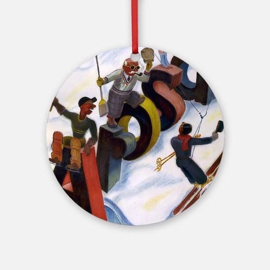 Arosa Switzerland - anon - 1938 - poster Round Orn