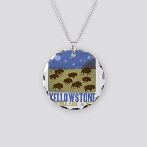 Yellowstone Bison Scene Necklace Circle Charm