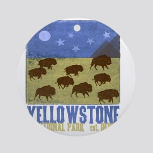 Yellowstone Bison Scene Round Ornament