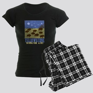 Yellowstone Bison Scene Women's Dark Pajamas