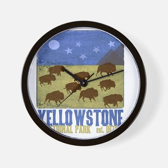 Yellowstone Bison Scene Wall Clock