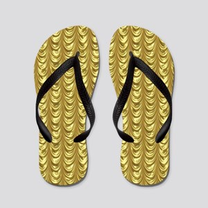 Gold Leaf Draping Curtain Pattern Flip Flops
