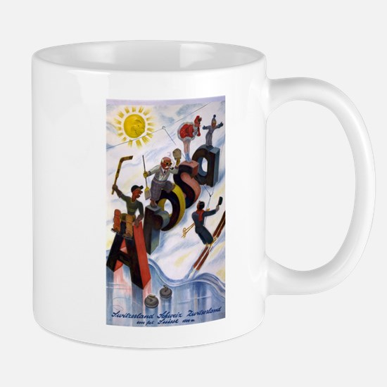 Arosa Switzerland - anon - 1938 - poster Mugs
