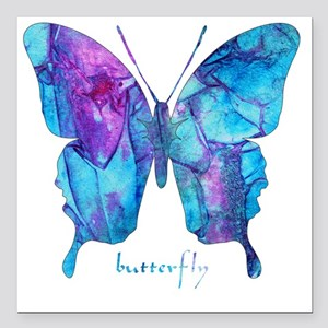 """Electric Blue Butterfly Square Car Magnet 3"""" x 3"""""""