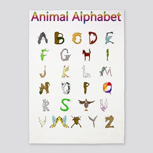 Animal Alphabet 5'x7'Area Rug