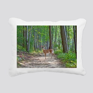 Doe in forest Rectangular Canvas Pillow