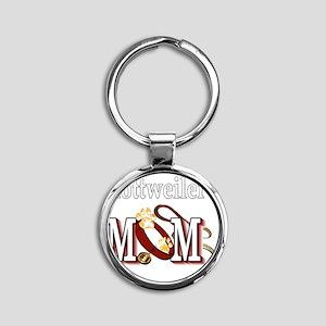 Rottweiler Mom Round Keychain