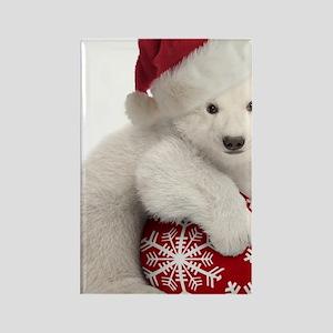 Polar Bear Cub Christmas Rectangle Magnet