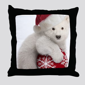 Polar Bear Cub Christmas Throw Pillow
