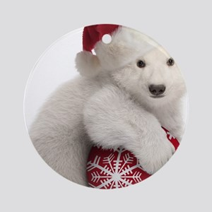 Polar Bear Cub Christmas Round Ornament