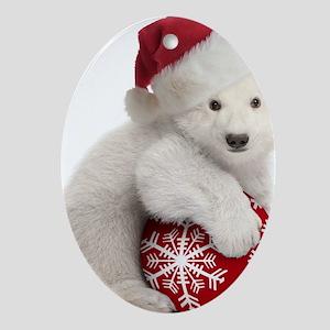 Polar Bear Cub Christmas Oval Ornament