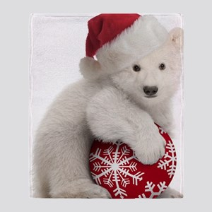 Polar Bear Cub Christmas Throw Blanket