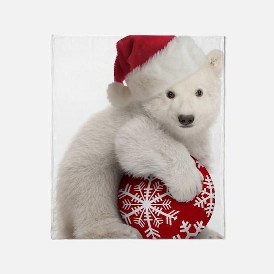 Polar Bear Cub Christmas Throw Blanket