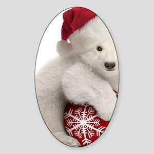 Polar Bear Cub Christmas Sticker (Oval)