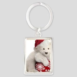Polar Bear Cub Christmas Portrait Keychain