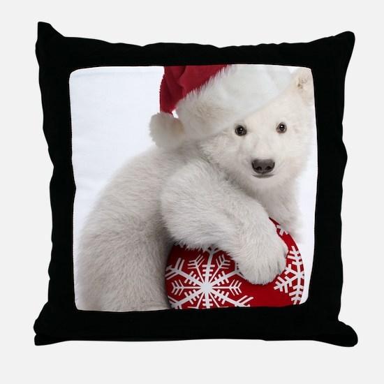 Polar Bear Cub Christmas Throw Pillow