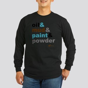 Oil Mud Paint Powder Long Sleeve Dark T-Shirt