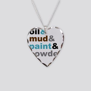 Oil Mud Paint Powder Necklace Heart Charm
