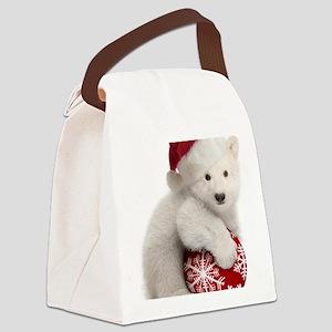 Polar Bear Cub Kids Christmas Canvas Lunch Bag