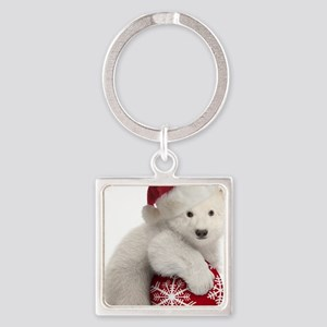 Polar Bear Cub Kids Christmas Square Keychain