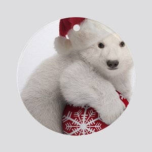 Polar Bear Cub Kids Christmas Round Ornament