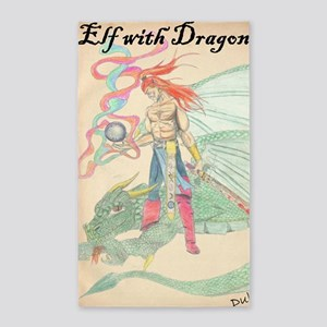 Elf with Dragon Large Poster 3'x5' Area Rug