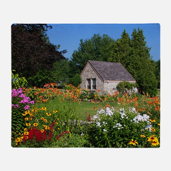 Country Garden Cottage Throw Blanket