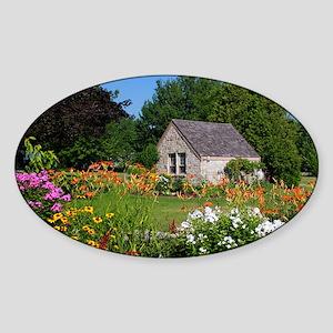 Country Garden Cottage Sticker (Oval)