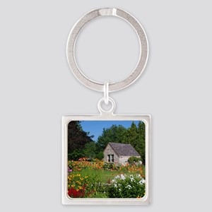 Country Garden Cottage Square Keychain