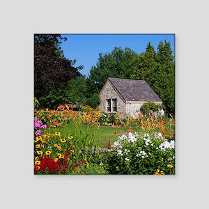 "Country Garden Cottage Square Sticker 3"" x 3"""