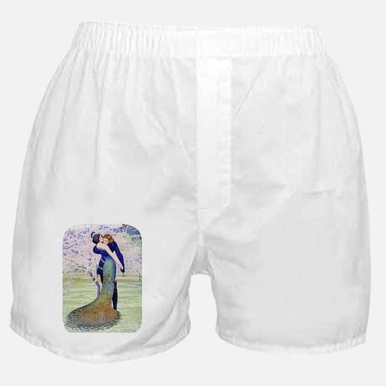 PwrBnk, Art Deco Couple - Peacock Fea Boxer Shorts
