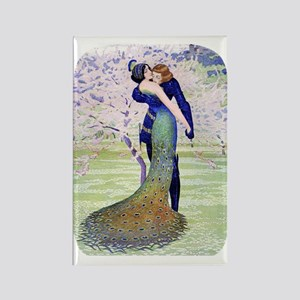 PwrBnk, Art Deco Couple - Peacock Rectangle Magnet