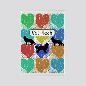 vet tech 2 hearts Rectangle Magnet