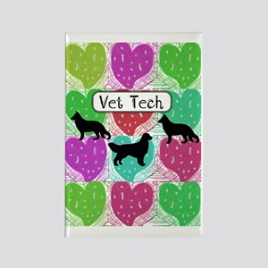 vet tech 3 hearts Rectangle Magnet