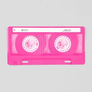 Pink Cassette Aluminum License Plate