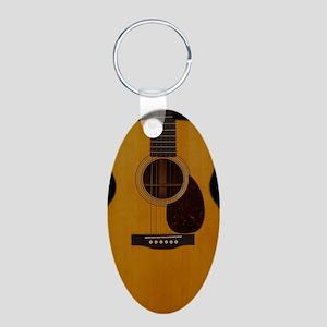 Acoustic Guitar Aluminum Oval Keychain