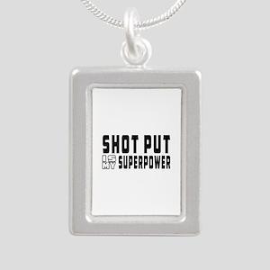 Shot Put Is My Superpower Silver Portrait Necklace