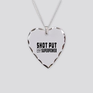 Shot Put Is My Superpower Necklace Heart Charm
