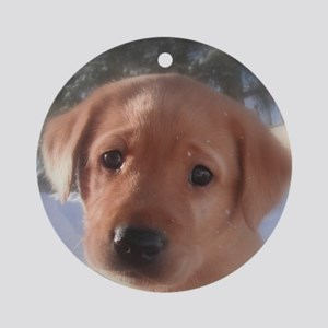 Yellow Lab puppy Round Ornament