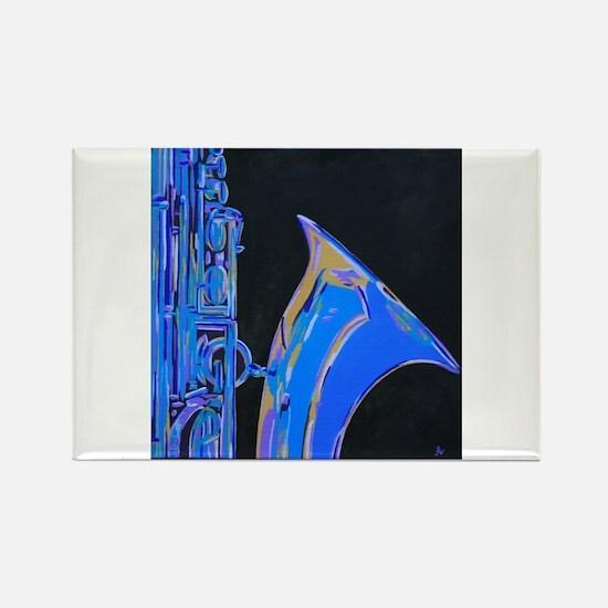 Saxophone Blues Art Rectangle Magnet