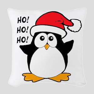 Cute Christmas Penguin Woven Throw Pillow