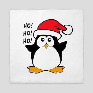 Cute Christmas Penguin Queen Duvet